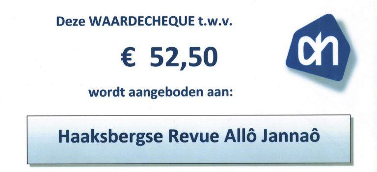 AlloJannao - Haaksbergen - Revue - Hoksebarge - Allô Jannaô - Tone - Gaitjan - Truike - Graads - Leida - Toneel - Theater de Kappen - Buurse - Hoeve - Zang - Dans - 2015 - Albert Heijn Cheque